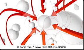 30858-Clipart-Illustration-Of-A-3d-Rendered-Network-Of-Red-Arrows-And-White-Orbs-All-Arrows-Pointing-To-One-Planet
